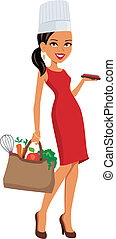 Girl Chef with Groceries - Girl holding a bag with groceries