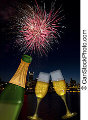 Champagne Toast with Portland Oregon Skyline - Champagne...