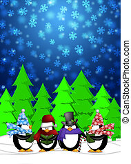 Penguins Carolers Singing Christmas Songs with Snowing...