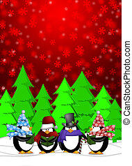 Penguins Carolers Singing with Red Winter Scene Illustration...