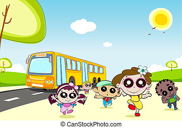 Kids coming out of School Bus - illustration of kids running...