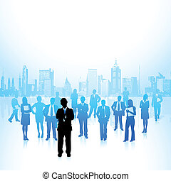 Corporate Crowd - illustration of leader standing in front...