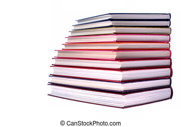 hardcover books stack on white background
