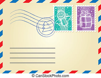 christmas envelope with postage stamps on white background