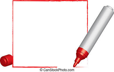 Text frame   and 3D red felt-tip pen. Vector