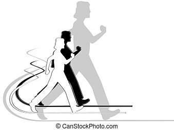 Pedestrianism - An abstract image of a person engaged in...