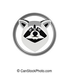 Raccoon - Round head badge with a raccoon The illustration...