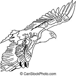Black silhouette swooping Tattoo egle Vector