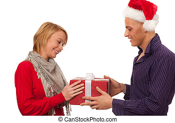 Christmas gift - Man giving a present to a girl