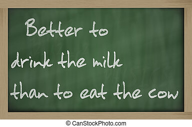 """Blackboard writings """" Better to drink the milk than to eat..."""