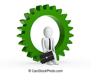 Businesman sitting in green gear - Businesman with briefcase...
