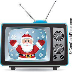 vector santa claus in retro tv set - vector christmas...