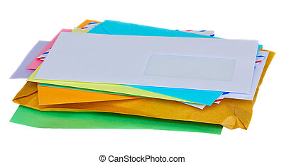 pile of mail - stucked colorful mail isolated on white...