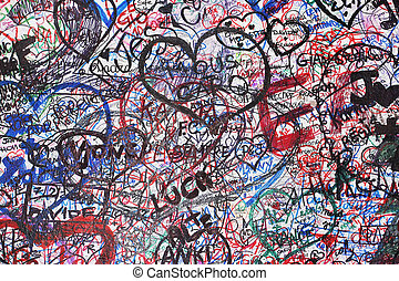 Wall of love in Verona, written on the walls by tourists