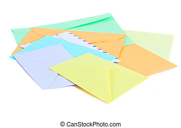 pile of mail - pile of colorful envelopes isolated on white...