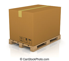 pallet and carton box - one pallet with a big carton box 3d...