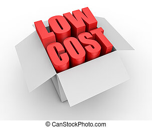 low cost - one carton box with the words: low cost coming...