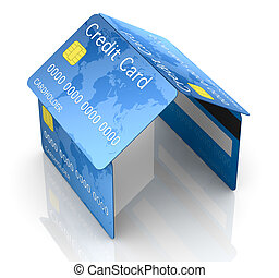 credit card security - one house made with credit cards,...