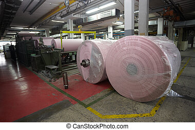 toilet paper tissue manufacturing industry - close up of...