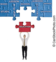 Education word on puzzle in man hands