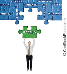 Family word on puzzle in man hands