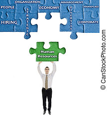 Human Resources word on puzzle in man hands