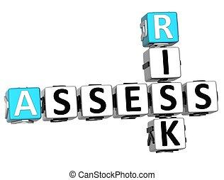 3D Assess Risk Crossword on white backgound