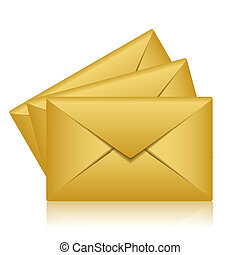 gold envelopes - Vector illustration of gold envelopes