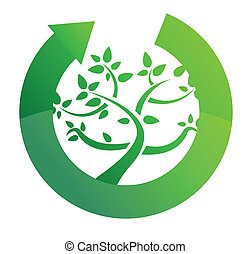 tree cycle recycle concept illustration design on white
