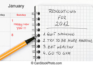 New Year's resolutions listed