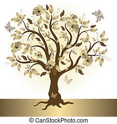 Abstract golden tree - Abstract tree with gold leaves and...