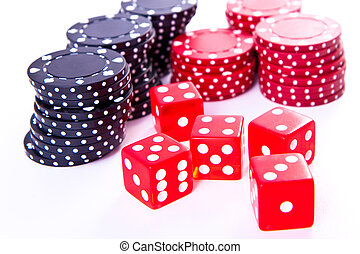poker chips and dice on white background