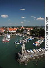 Aerial View of a Harbor - Lindau harbor, Bodensee, Germany