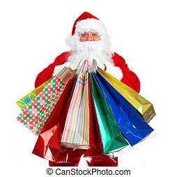 Santa Claus with a shobbing bag. Christmas. Isolated on...