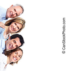 Group of happy people. Isolated over white background.
