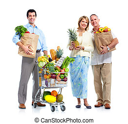 Family with a grocery shopping cart. Isolated on white...