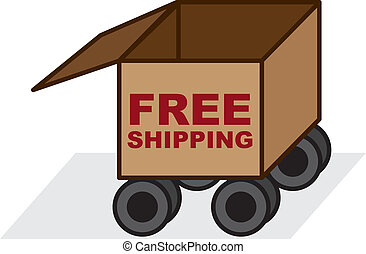 Free Shipping Box - Free shipping box with wheels