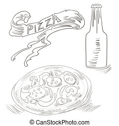 Sketch with Pizza and Bottle of soda