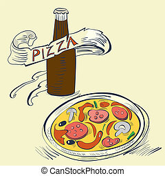 Pizza with Bottle of soda