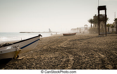 Puerto La Duquesa - A view down the beach of Sabinillas...