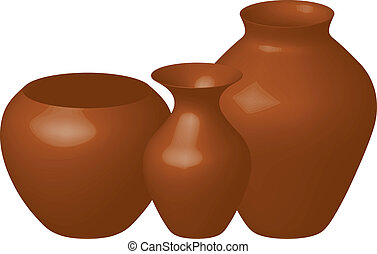 brown vases - Vector illustration of three brown vases