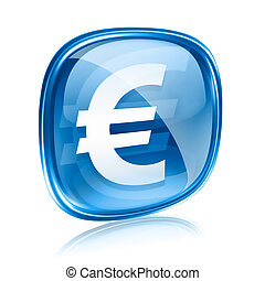 Euro icon blue glass, isolated on white background