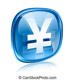 Yen icon blue glass, isolated on white background