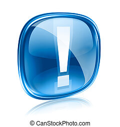 Exclamation symbol icon blue glass, isolated on white...
