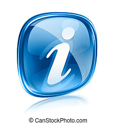 information icon blue glass, isolated on white background