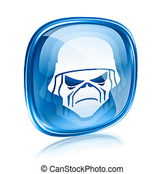 Army icon blue glass, isolated on white background