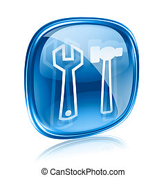 Tools icon blue glass, isolated on white background