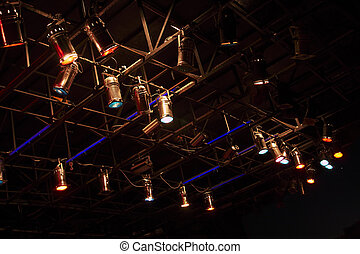 structures of stage lights equipment and projectors