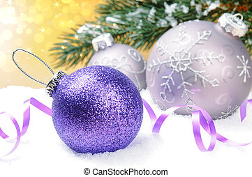 Christmas balls on festive background