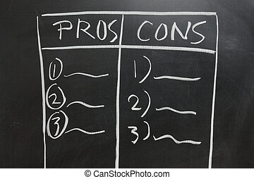 Pros and Cons - Chalkboard drawing - Pros and Cons list side...